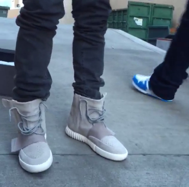 brand new aa36d 06ef4 Kanye West Wears Yeezy 750 Boost for the First Time | Complex