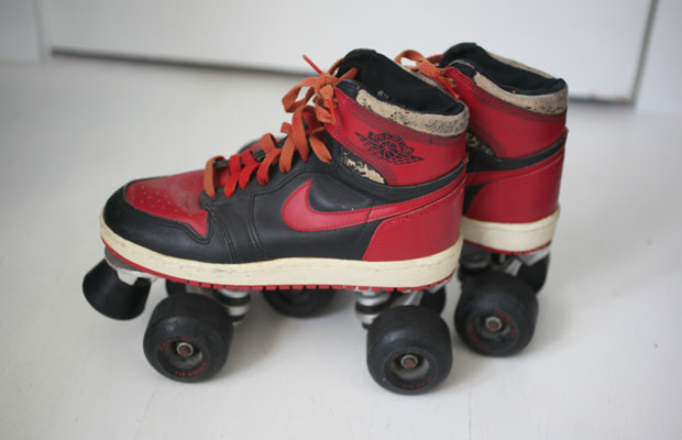newest 6f628 a8a0c We know original Air Jordans were used for skating, but this is ridiculous.  Most likely an  80s job, these size 6.5 OG Air Jordan 1s were converted to  ...