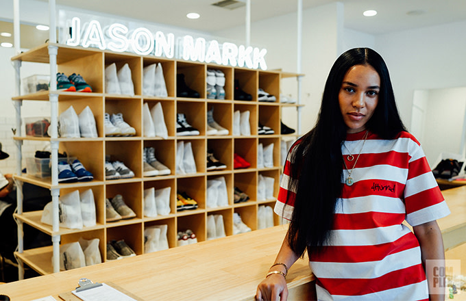 Aleali May at the Jason Markk counter in Downtown Los Angeles, Calif. in June 2016. Photo by Allen Park.