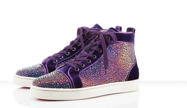 low priced 36ef0 93376 Christian Louboutin x Swarovski Crystal Purple Velvet ...