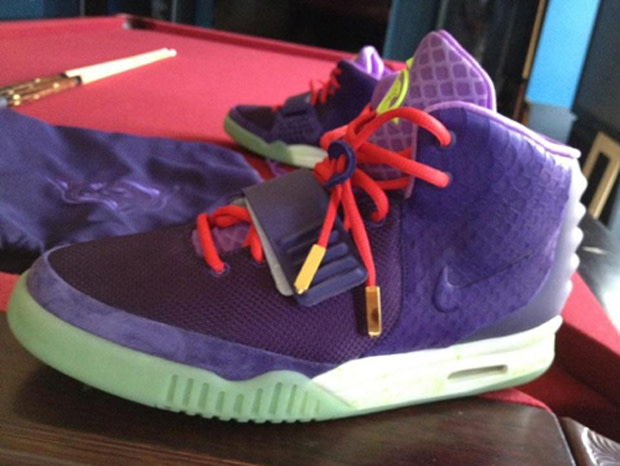 sale retailer c539a 3c2c7 Surfacing tonight is a brand-new color of the yet-to-release Nike Air Yeezy  2 — purple with red laces, yellow branding, and the standard glow-in-the- dark ...