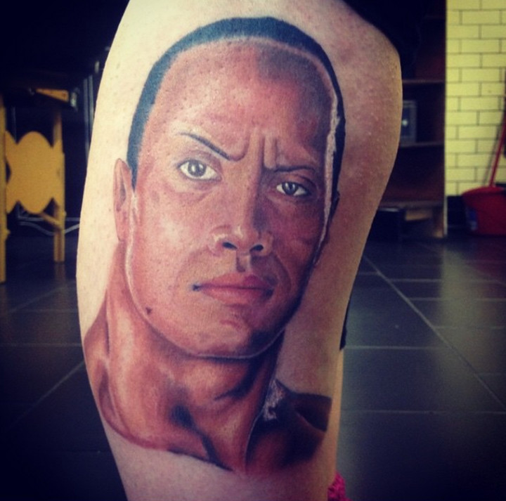 Someone Got A Giant Portrait Of The Rock Tattooed On Their