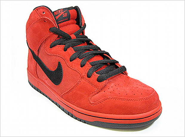 best service 05bfe a940b Apparently the Devil wears suede, at least when it comes to footwear. Nike  SB rolls out an all-red suede upper for this Dunk High and adds contrasting  black ...