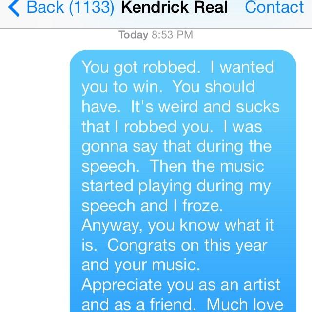 Macklemore Instagrams Text Messages Telling Kendrick Lamar