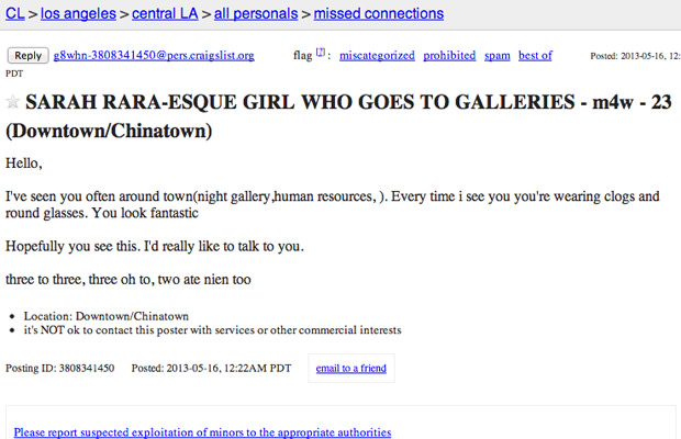 The 25 Thirstiest Craigslist Missed Connections in the Art