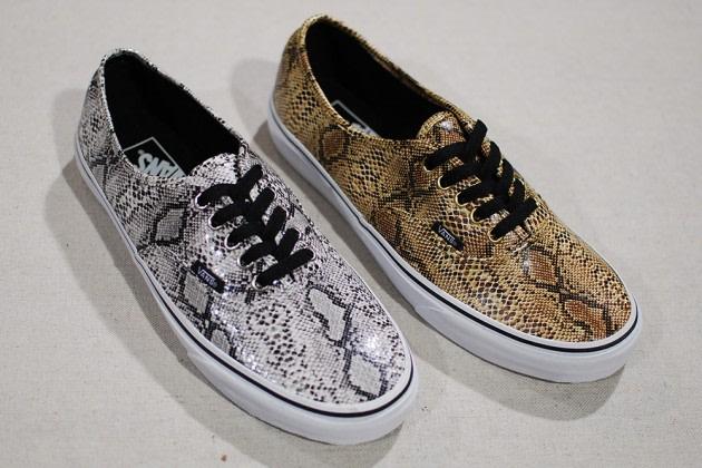 snakeskin vans gold