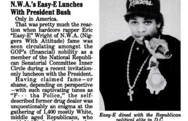 541282e8 23. Eazy-E Attends White House Luncheon with President George H.W. Bush