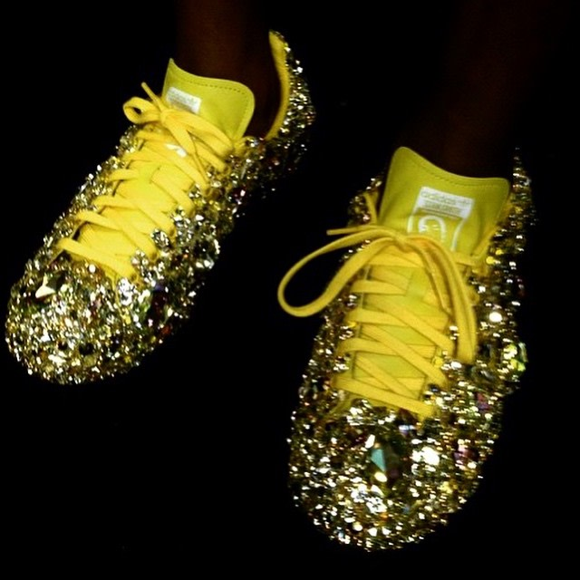 Pharrell Wore Custom Bedazzled adidas Sneakers at the