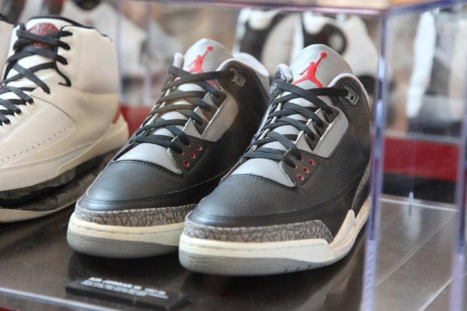 A look at the game-worn Air Jordan display in the Michael