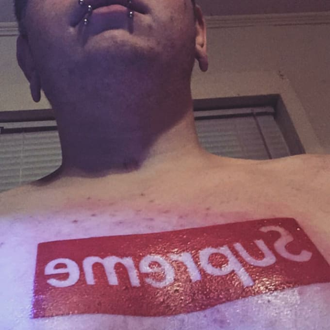 News Style Logo Collection: Hypebeast Gets Supreme Box Logo Tattoo On Chest