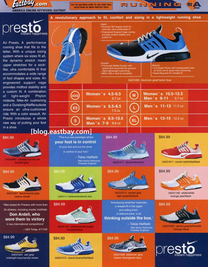 nike presto 25 classic sneakers from vintage eastbay. Black Bedroom Furniture Sets. Home Design Ideas