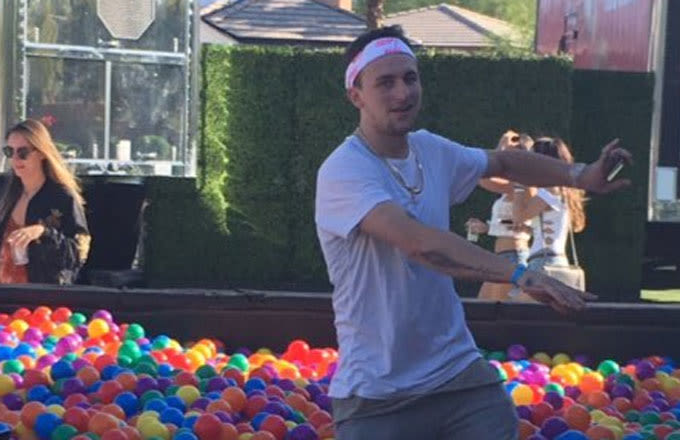 Johnny Manziel Spent His Weekend Jumping in a Ball Pit and Hanging With Drake's Dad at Coachella news