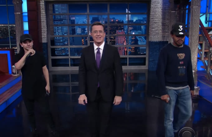 Chance the Rapper Wears Ralph Lauren Polo Bear Sweater on 'The Late Show With Stephen Colbert' news