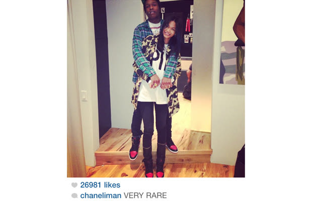 "A$AP Rocky and Chanel Iman - Air Jordan I ""Black/Red ..."