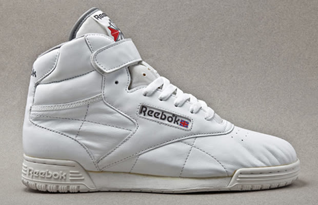 reebok freestyle vintage high-top trainers in grey