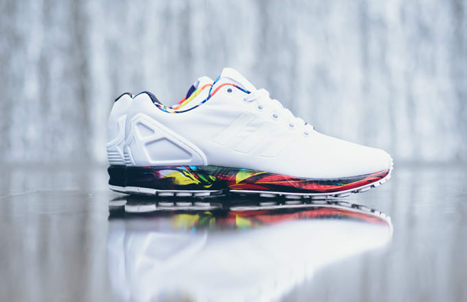 new concept 25054 37832 adidas zx flux white with colorful bottom - Adidas ZX Flux White