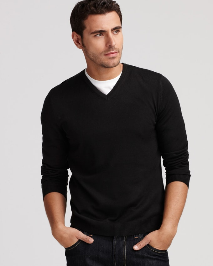 The V-Neck Sweater is an essential because you're going to need warm layering pieces for the cooler parts of the year and it allows you to mix and match your Essential Wardrobe a little better by layering it with a blazer or suit, over an oxford or semi-spread collar dress shirt and paired with.