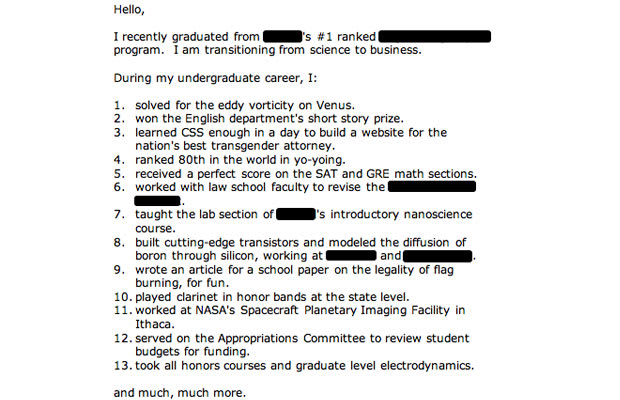the im probably a douche cover letter