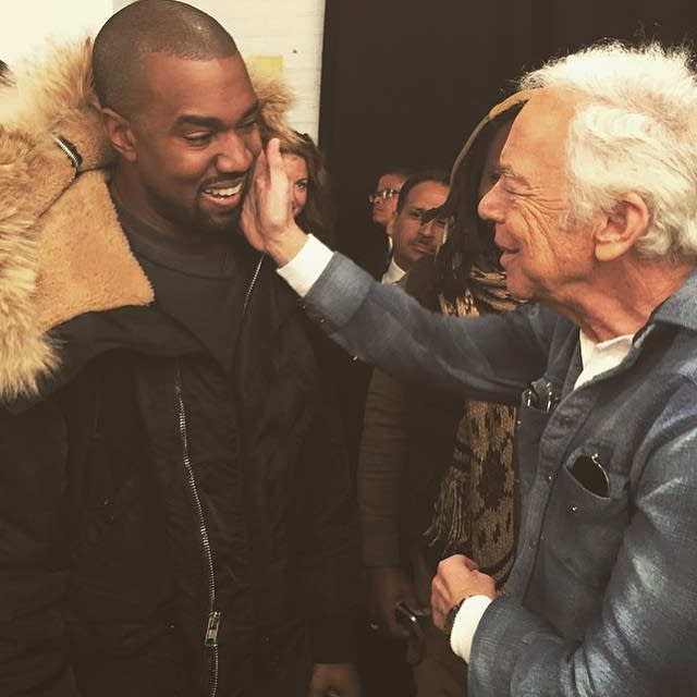 kanye west attends the ralph lauren fashion show in head