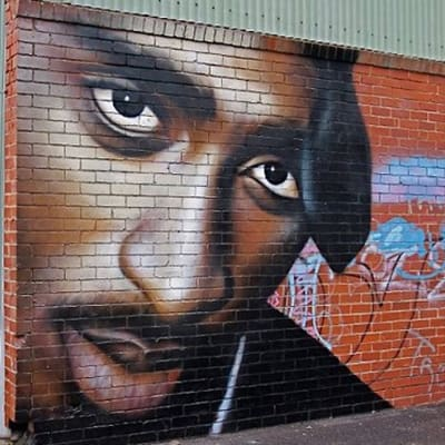 2pac 40 dope rap murals complex for Baby boy tupac mural