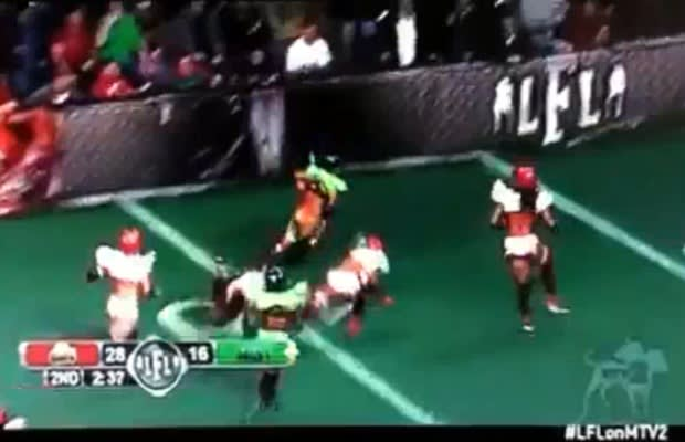 Watch a lingerie football league player get her pants pulled down