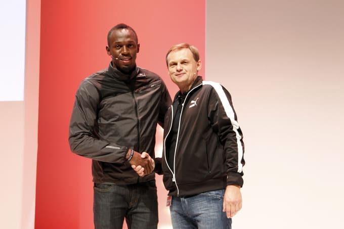 Usain Bolt with PUMA CEO Bjoern Gulden