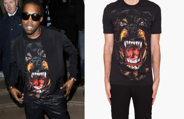 Kanye west 39 s givenchy 39 rottweiler 39 shirt is now available Givenchy t shirt price