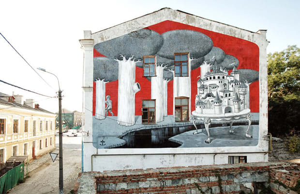 Kislow respublica mural in ukraine complex Lil yachty mural