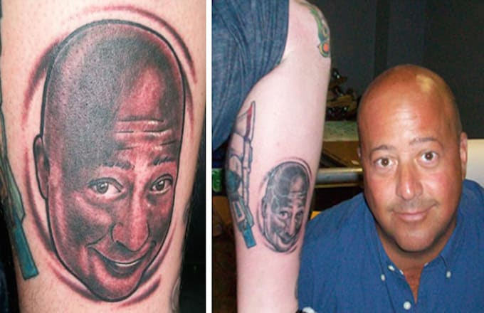 Andrew zimmern celebrities with tattoos of themselves for Asap ferg face tattoo