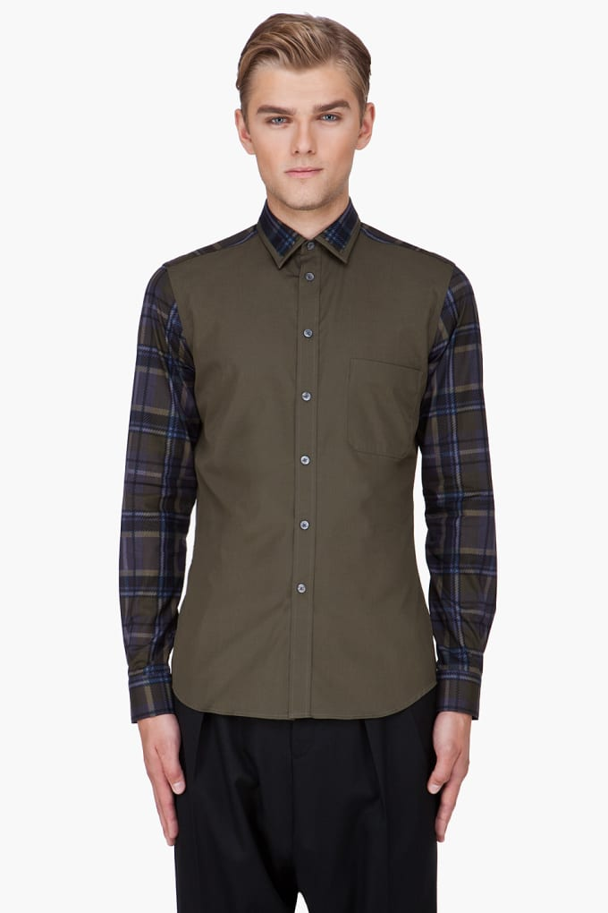 Givenchy contemporary olive plaid sleeve shirt fall wish for Wiz khalifa button down shirt