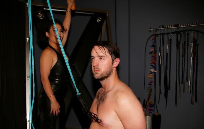 Women torturing mens tits