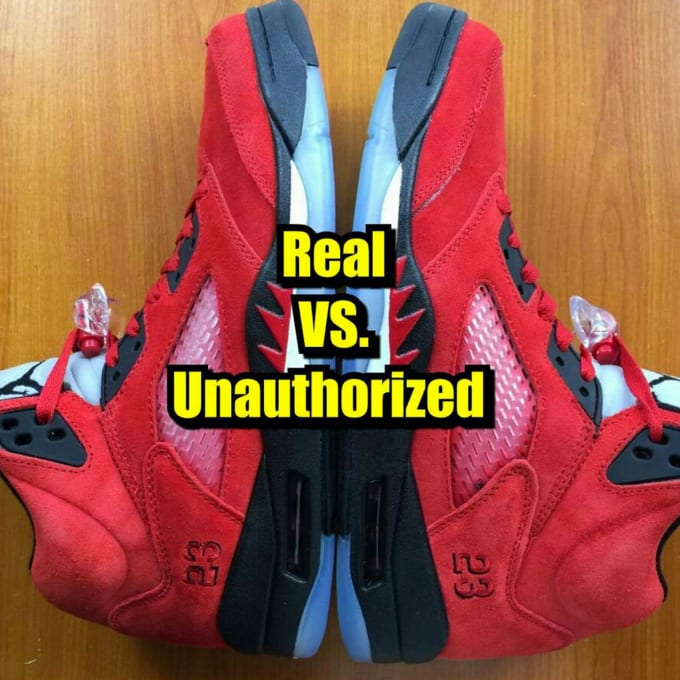 new concept fbef9 9a7c2 ... Air Jordan 5 Retro Raging Bull Red Suede Varsity Red Black Womens  Jordans Shoes, Jordan  How to Tell If Your ...