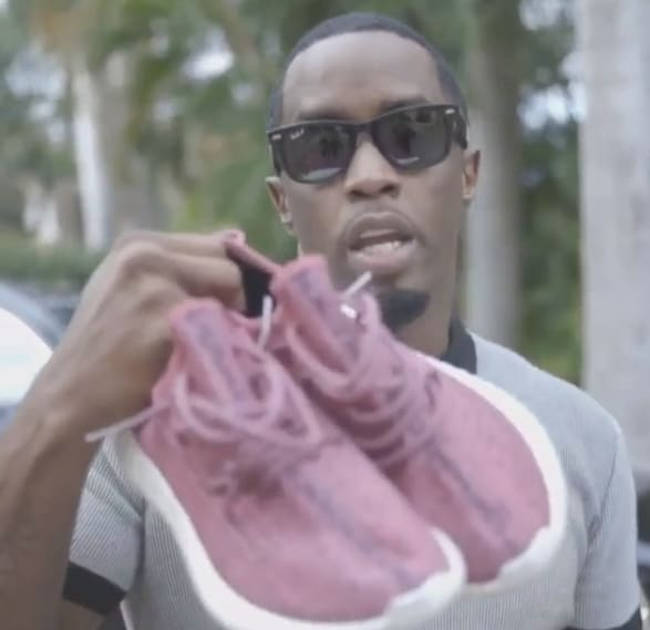 Diddy's pink adidas 350 Boost