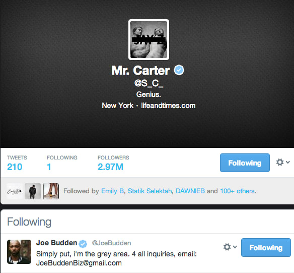 the only person jay z follows on twitter right now is joe budden