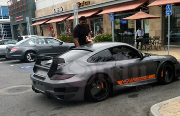 Andrew Bynum Parks His Porsche In Two Handicap Spots