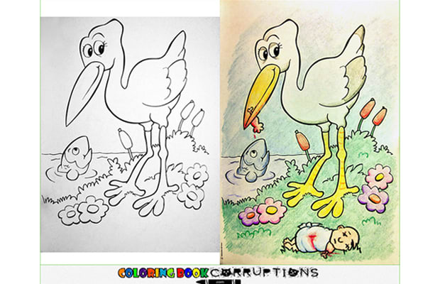 Image Via Laughing Squid An Innocent Childhood Pastime Becomes Something Disturbing In Coloring Book Corruptions