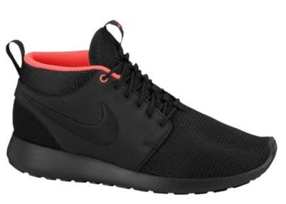 3cea169d320a Today we have chosen to highlight the Black Atomic Red rendition of the Roshe  Run Mid from the Swoosh. The lightweight option has been done up  predominantly ...