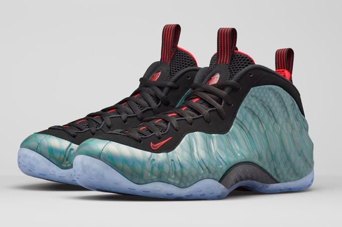 Nike air foamposite one prm gone fishing sneaker for Fish nike shoes