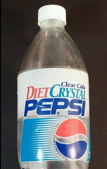 Vintage Diet Crystal Pepsi Clear Soda Cola Plastic Bottle