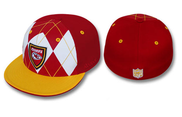 3dc619410 50. Kansas City Chiefs Red-Gold Argyle Shield Fitted