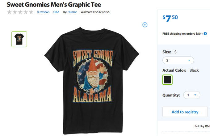 "Gnome Alabama"" Graphic Tee - Ridiculous T-Shirts For Sale at Walmart ..."
