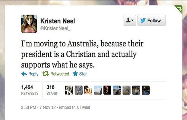 Disointed With President S Re Election Neel Tweeted That She Was Moving To Australia Because Their Is A