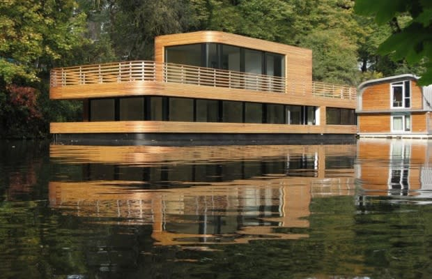 Modern wooden houseboat