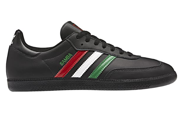 aea10b50a2d The basic style from the adidas Samba gets some Italian flavor added to it.  An all-black leather upper gets hits of added color to the three stripes on  the ...