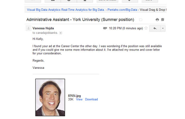 the nick cage photo is definitely going to get me this job cover letter - 40 Funny Job Resumes Optional