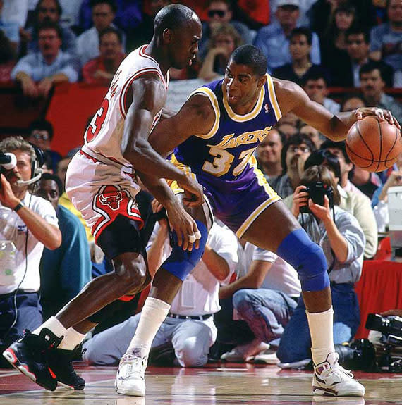 best website 41da1 77ae9 MJ suffered an injury to his foot in the second game of the NBA Finals  against Magic and company. When asked if he wanted a special shoe to help  protect the ...