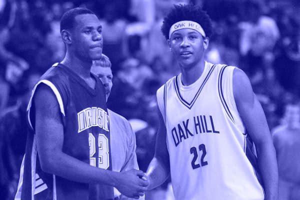 d161a1a2719 It s been 11 years since LeBron James and Carmelo Anthony staged their  first national TV battle (SVSM vs. Oak Hill) and ain t much changed between  two of ...