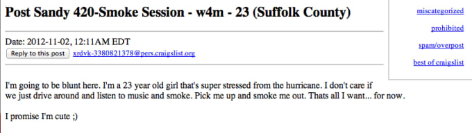 what 420 mean on craigslist