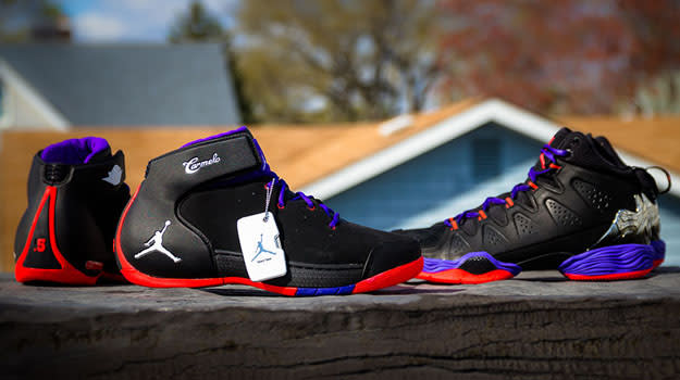 be4a8701506 jordan-melo-raptors-collection_01. Image via SoleCollector. Carmelo Anthony  and ...