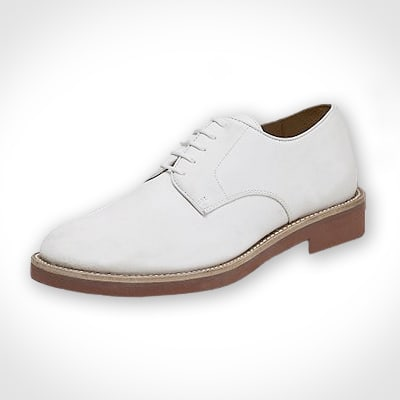 And with summer suiting comes summer casual footwear – particularly the white buck. They naturally go with summer clothing, like linen and seersucker suits, colored chinos and madras. I particularly like their high-contrast look against dark denim, letting the indigo stain the suede a bit.